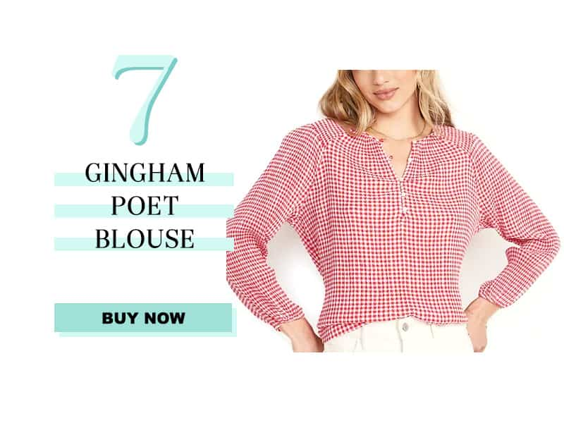 Old Navy gingham poet blouse