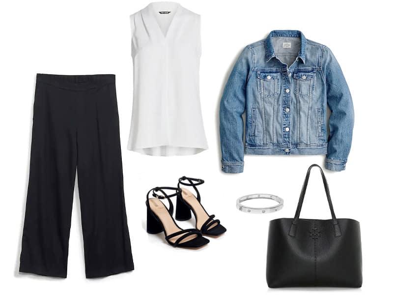 black culottes, white tank, denim jacket, silver bracelet, black block heel sandals, and a large black tote