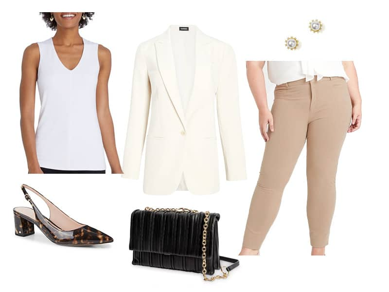 tan pants, white blazer, white tank, brown slingbacks, black bag, and pearl earrings