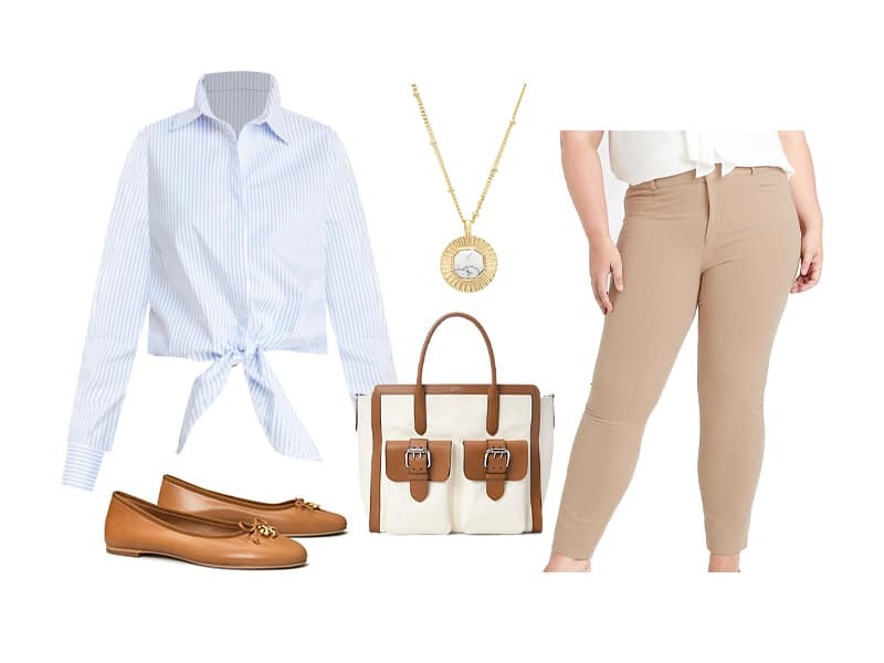 Blue and White striped tie top, tan pants, canvas and tan tote, tan shoes, and gold pendant necklace