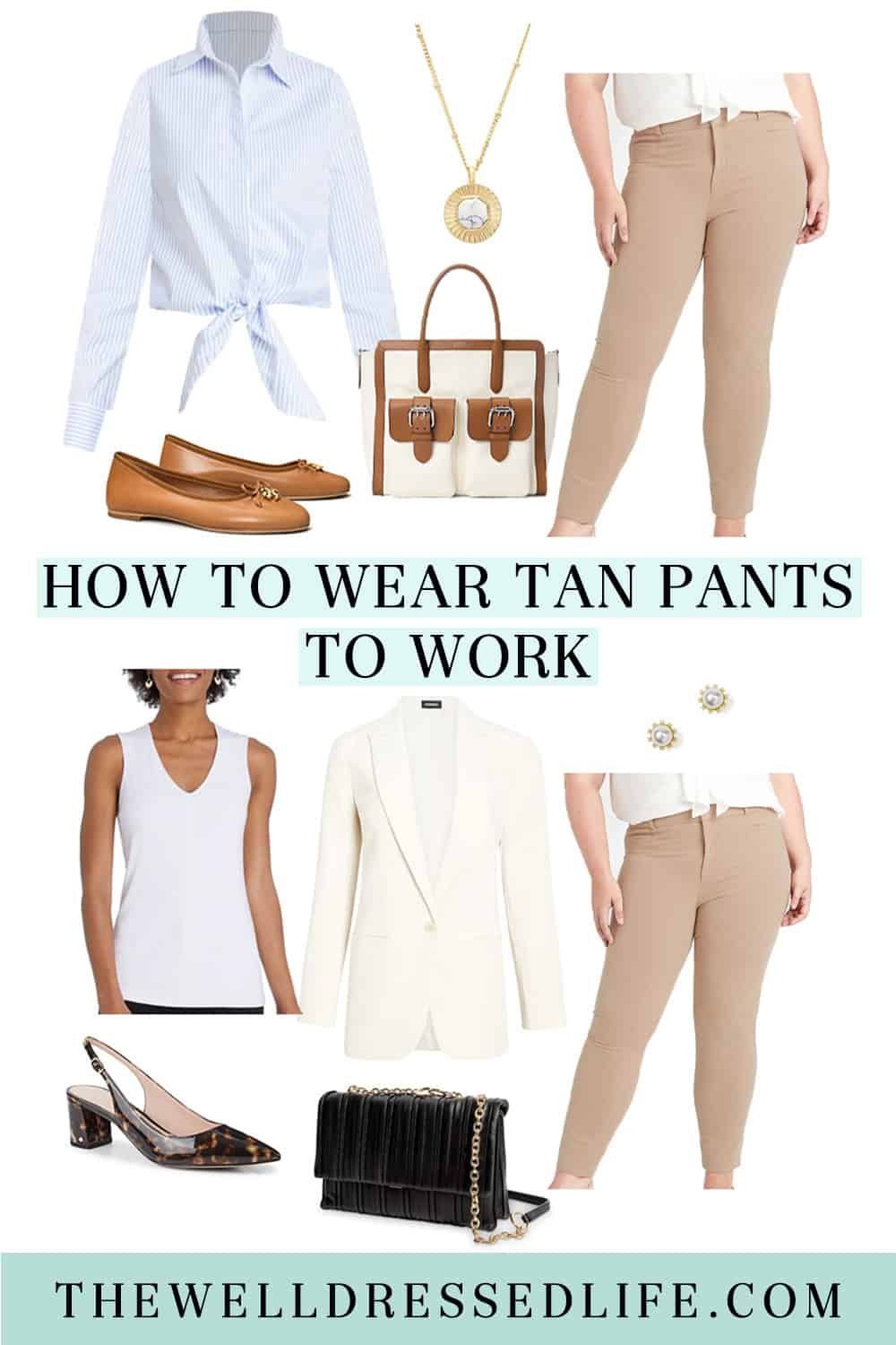 How to Wear Tan Pants to Work Two Ways