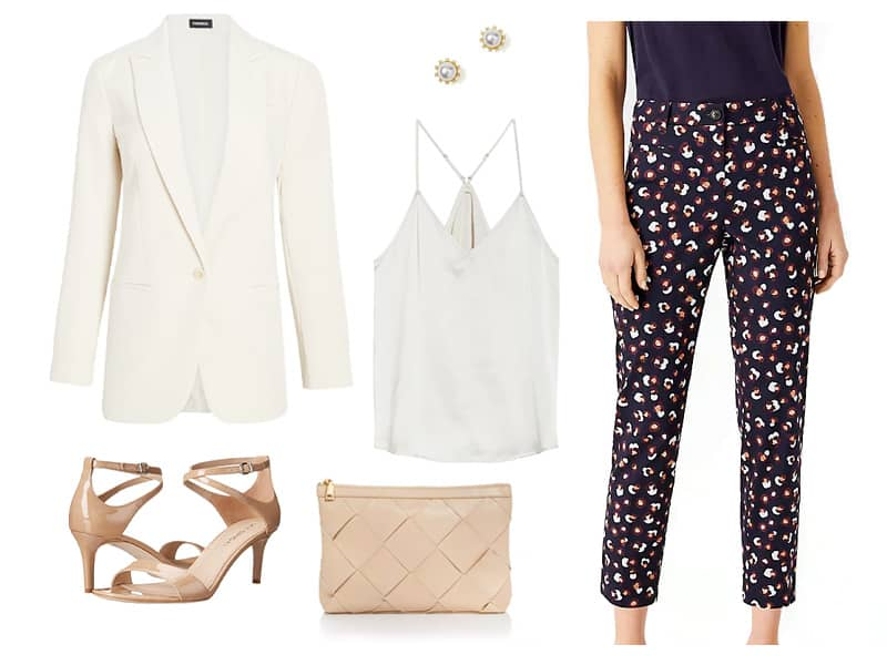 outfit with printed pants, white blazer, white camisole, and nude heels