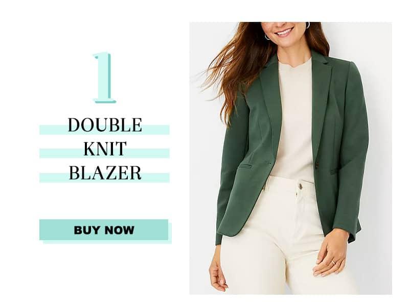 Ann Taylor Double Knit Blazer in Green