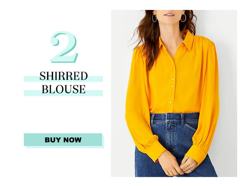 Ann Taylor Shirred Blouse in Orange