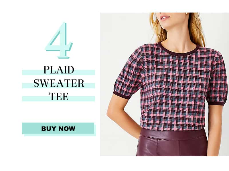 Ann Taylor Plaid Sweater Tee