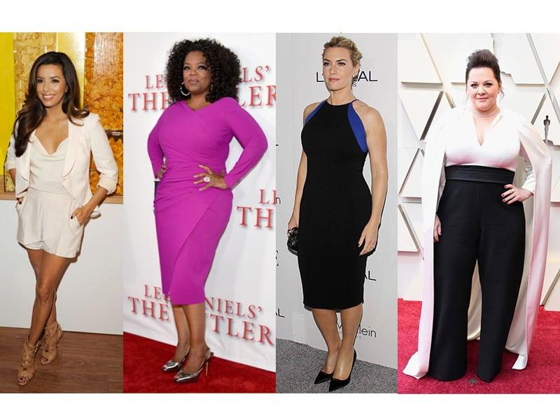 Eva Longoria, Oprah, and Kate Winslet have a Circle Body shape