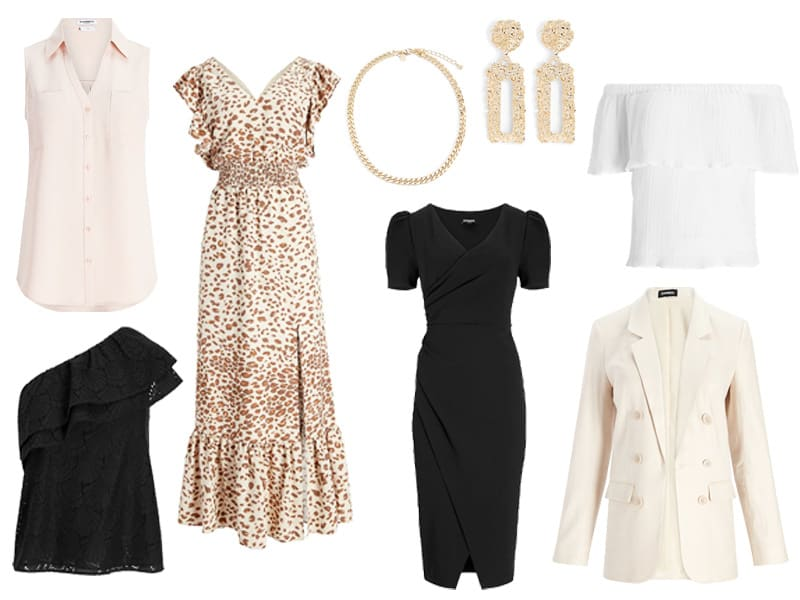 A collection of clothes and jewelry from Express