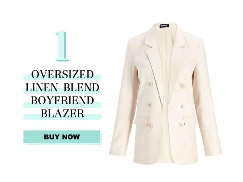 Express Oversized Linen Blend boyfriend blazer