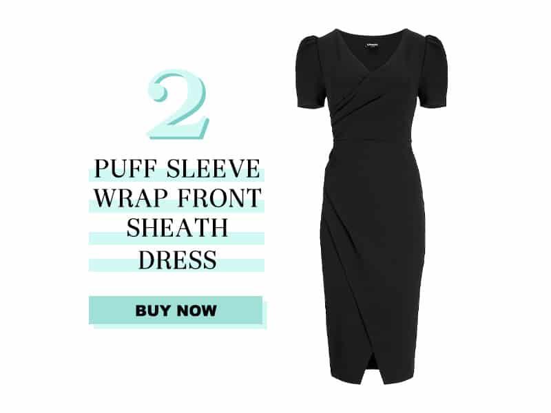 Express Puff Sleeve wrap sheath dress
