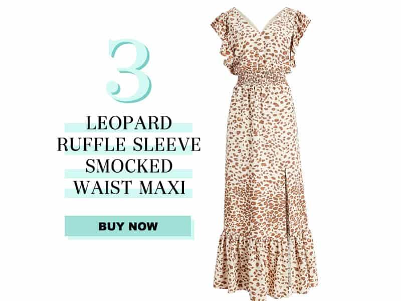 Express Leopard Ruffle Sleeve smocked waist maxi dress