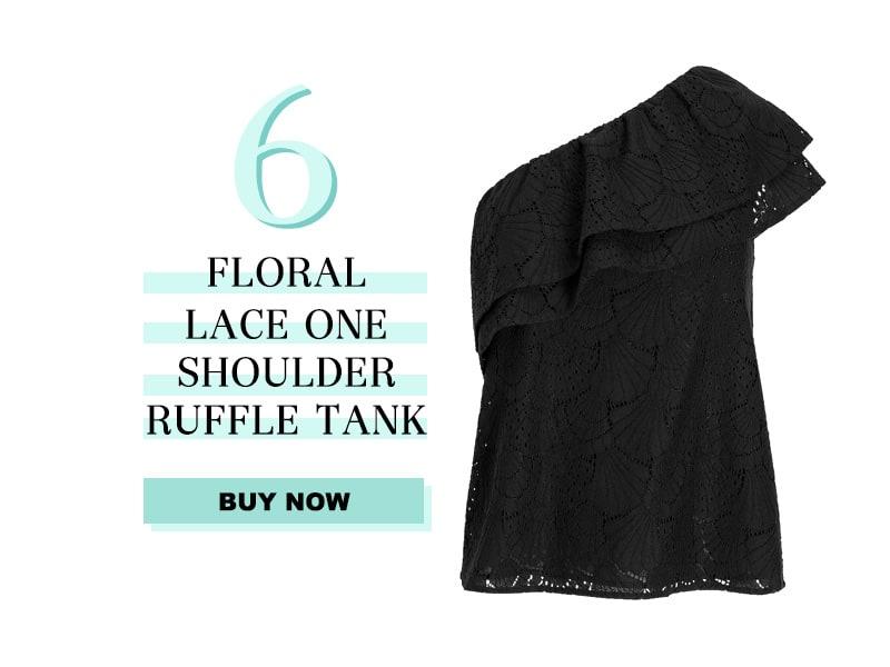 Express Floral Lace one shoulder tank