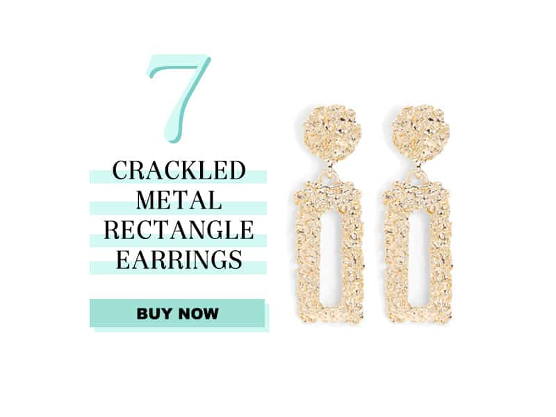 Express Crackled metal rectangle drop earrings