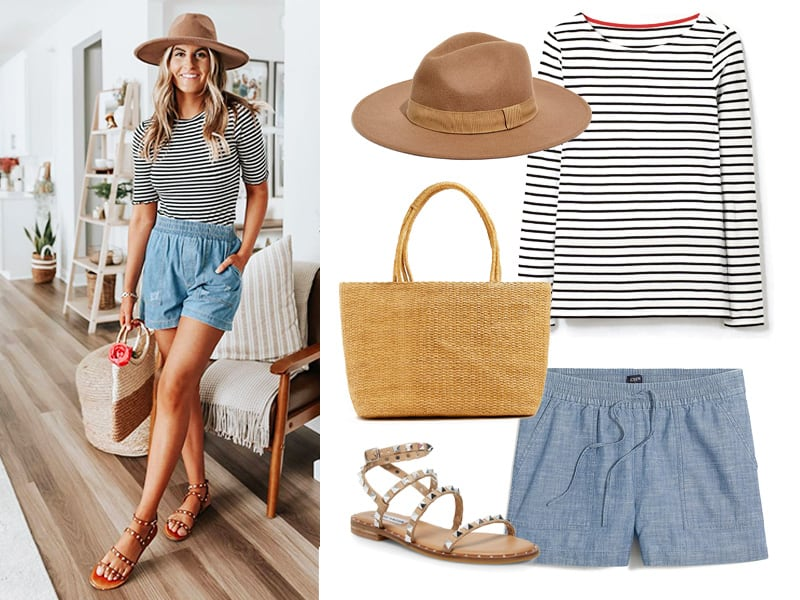 Outfit with tan felt hat, chambray shorts, striped Breton top, Striped Bag, and Rock Stud Sandals