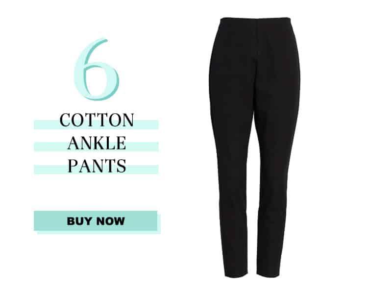 Black Cotton Ankle Pants