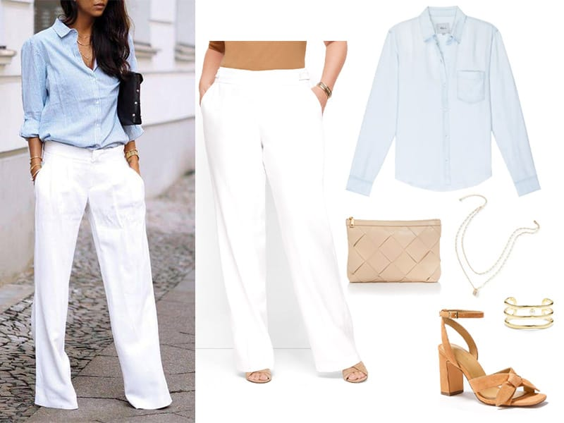 Outfit with white pants, chambray button down shirt, tan suede heeled sandals, gold necklace, and tan clutch