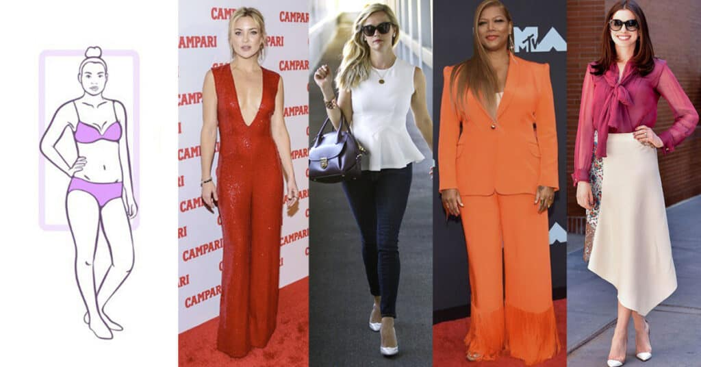 Kate Hudson, Reese Witherspoon, Queen Latifah, and Anne Hathaway are examples of Rectangle body shape