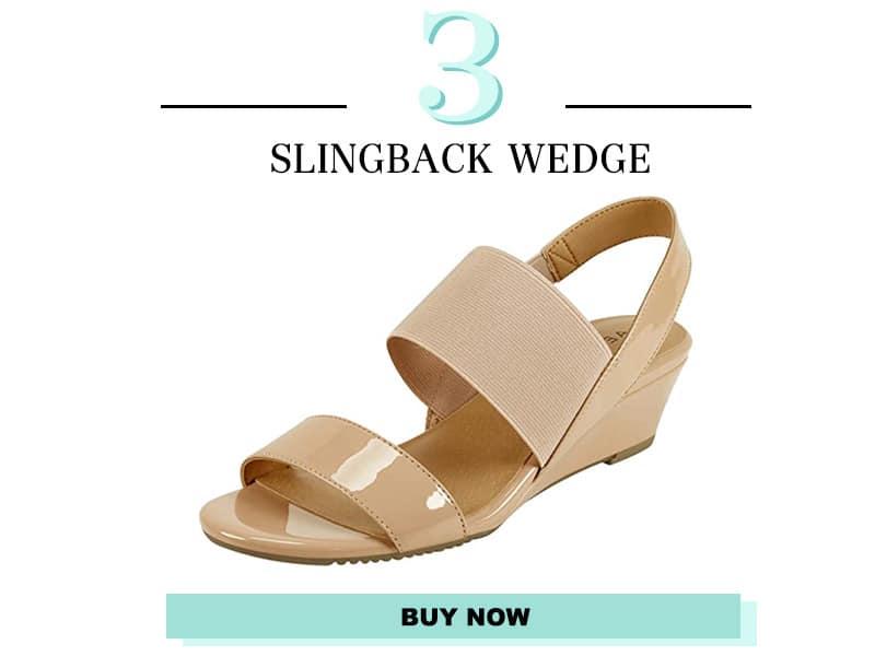 Aerosoles Tan slingback wedge sandals