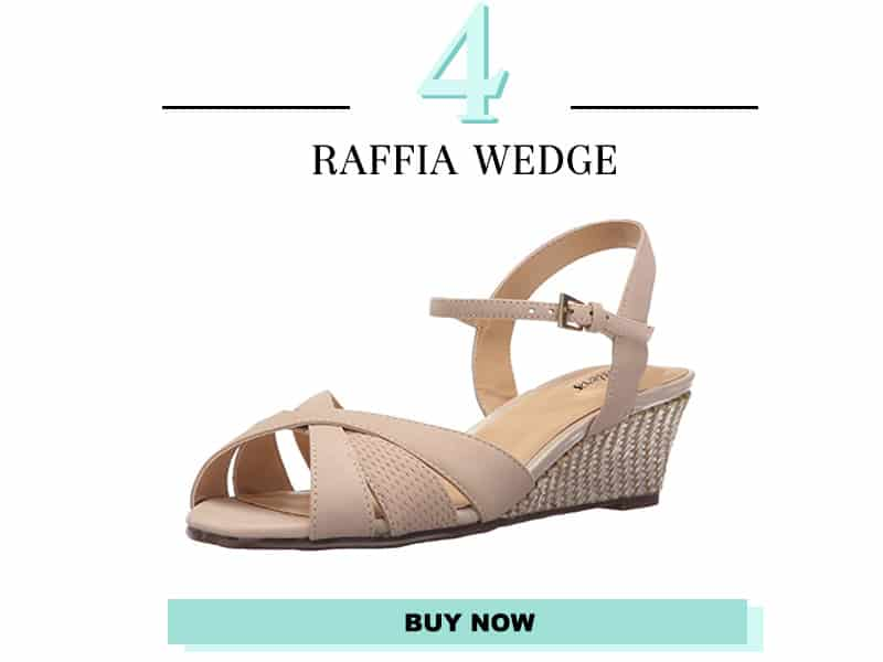 Trotters Tan wedge with raffia