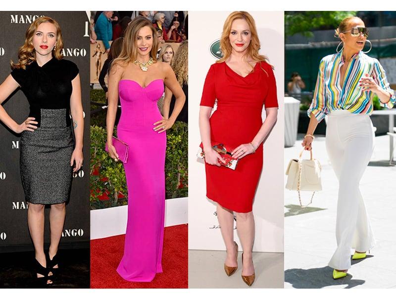 Scarlett Johansson, Sofia Vergara, Christina Hendricks, and Jennifer Lopez have an hourglass body shape