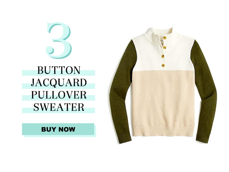 j.crew factory sweater in colorblocked green ivory and tan