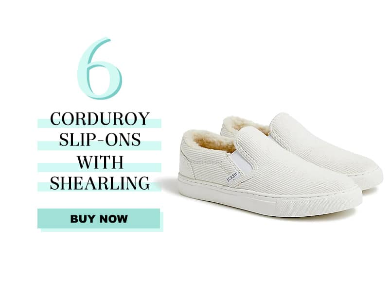 j.crew factory courderoy slip ons with shearling