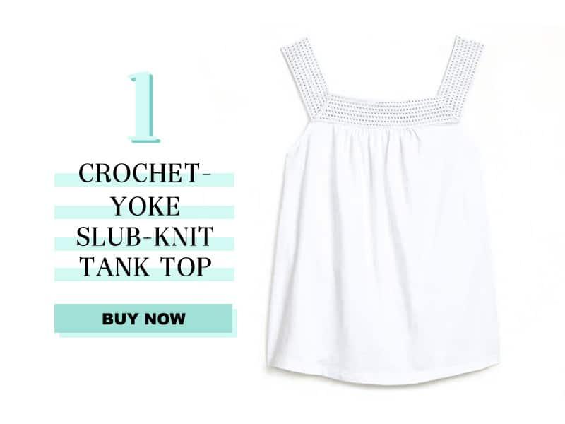 Crochet-Yoke Slub-Knit Tank Top for Women In White