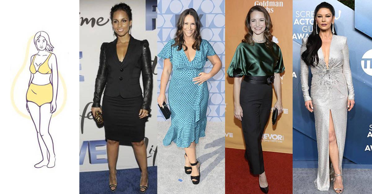 Alicia Keys, Jennifer Love Hewitt, Kristin Davis, and Catherine Zeta Jones have a Pear Shape Body Type