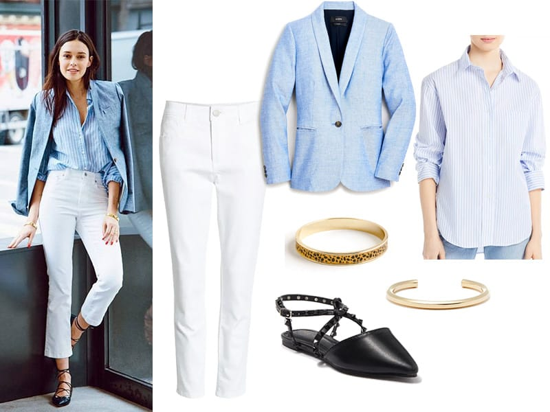 Pinterest Inspiration Outfit with white jeans, chambray blazer, blue and white striped button down shirt, two gold bracelets, and black studded flats
