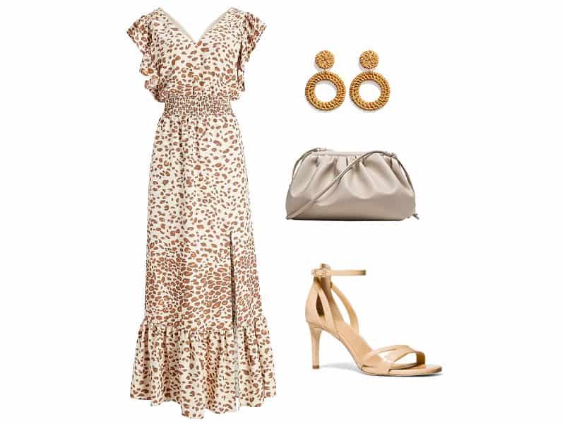 Leopard ruffle maxi dress, rattan earrings, tan cloud clutch, and tan ankle strap heels.