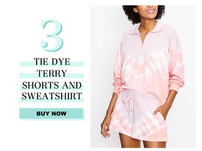 Lou & Grey Tie Dye Terry Shorts and Sweatshirt