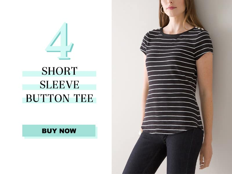 Short Sleeve Button Tee at White House Black Market