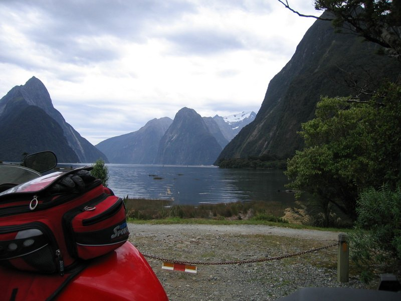Richard's bike at Milford Sound