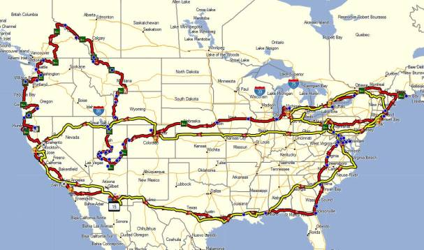 15 June - 24 August, 23991 Miles (yellow route is Iron Butt Rally)[
