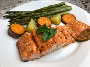 The Well-Intended's Sriracha Lime Salmon with Roasted Vegetables