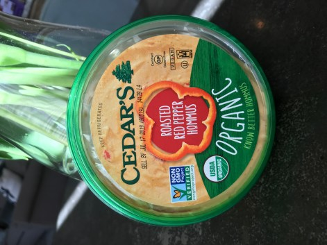 The Well-Intended uses Cedar's Roasted Red Pepper Hommus on Cucumber with Cilantro