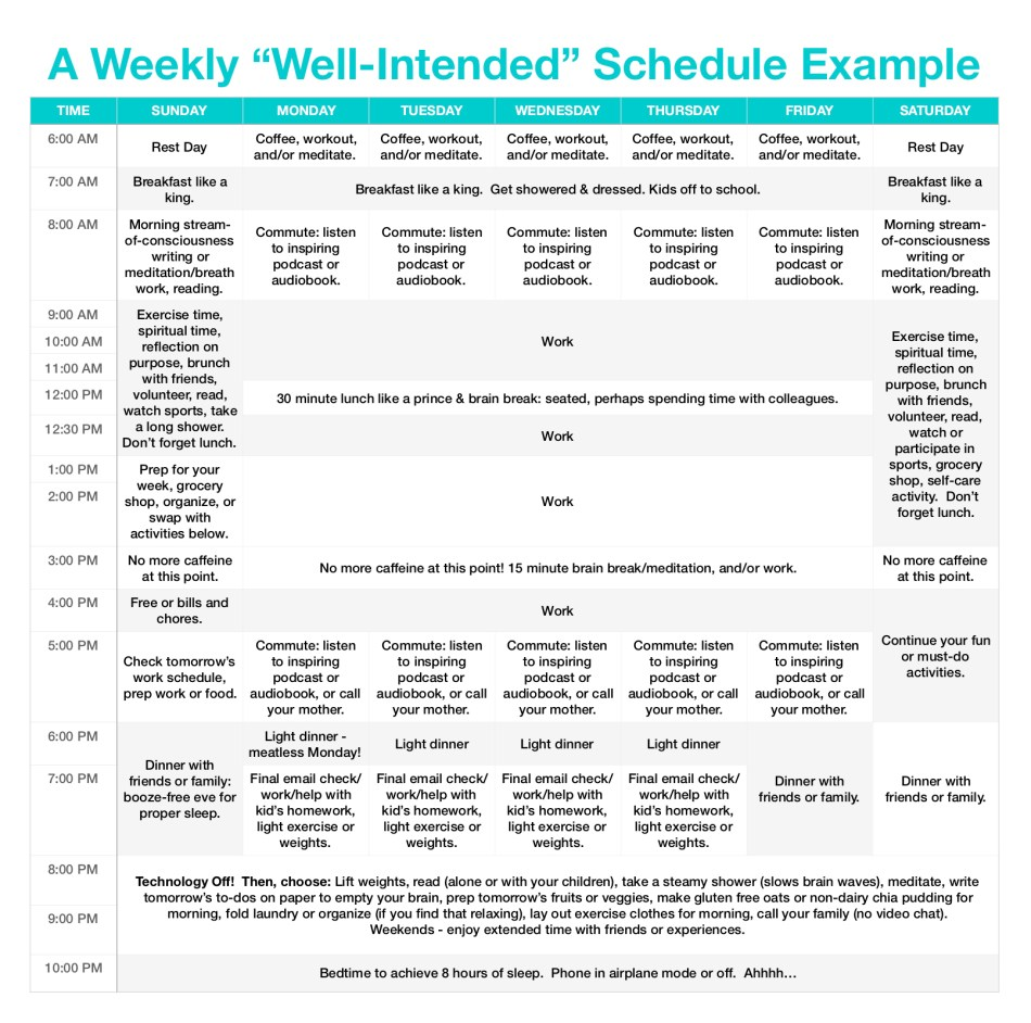 A Weekly Well-Intended Schedule Example