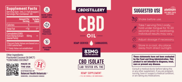 cbd-kafe,THC-Free Pure CBD Oil Tincture – 2500mg – 30ml,CBDistillery,Full Spectrum