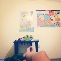 Sick in bed looks the same the world over. As does my room; so long as there's maps I'm at home.