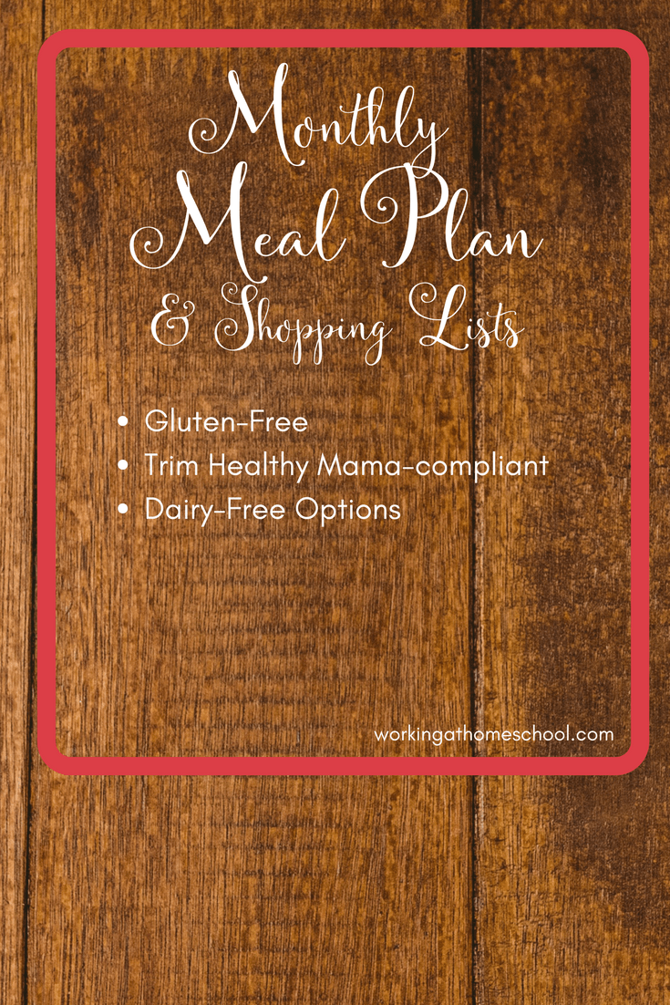 Full printable menu for Trim Healthy Mama! THM, Gluten-Free, healthy meal plan with shopping lists.