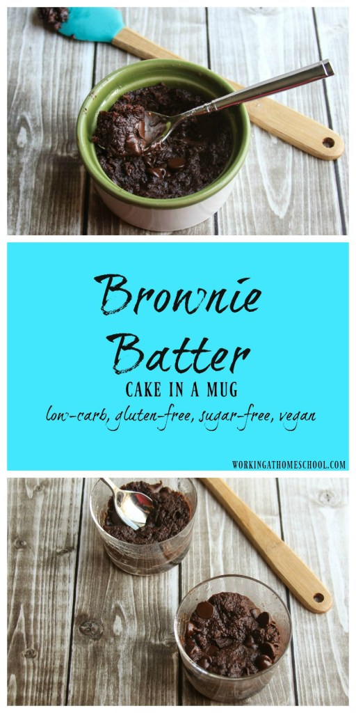 """Brownie Batter Cake in a Mug - this is a healthy take on gooey brownie batter! THM """"S"""""""