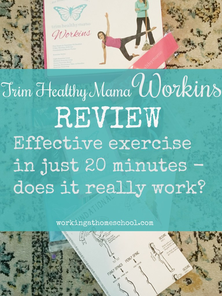 """Trim Healthy Mama's """"Workins"""" program comes with everything you need to work out in 20 minutes - but does it really work? #trimhealthymama #thm #exercise #workout"""