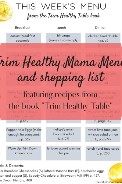 New menu from the Trim Healthy Table book