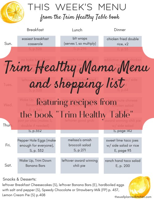 Trim Healthy Mama Menu & Shopping List!