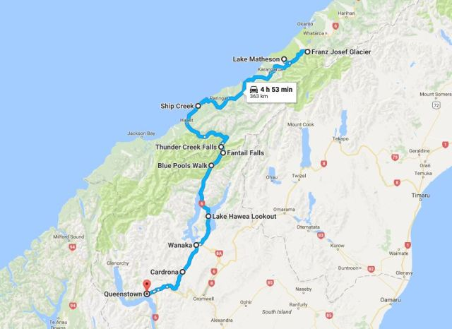 A Journey from Franz Josef to Queenstown (MAP)