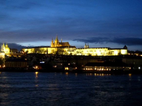 Prague Castle at night from Charles' Bridge