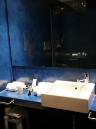 My gorgeous royal blue bathroom at the Methis Hotel