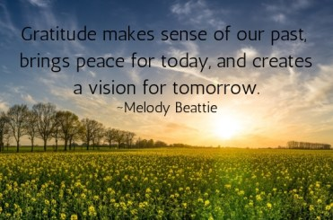 Gratitude makes sense of our past, brings peace for today, and creates a vision for tomorrow! ~Melody Beattie