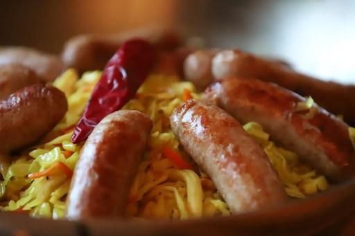 German cuisine sauerkraut and bratwurst