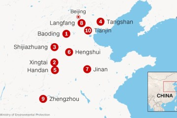 10 chinese cities with worst air pollutuon 2014