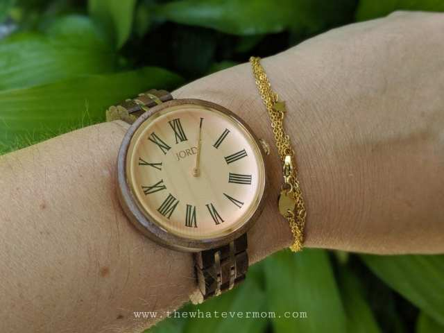 wood watch with clock face